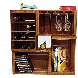 Boîtes à fruits, porte-bouteilles, bibliothèque, mini mobilier modulaire à vin composé de 4 boîtes vintage