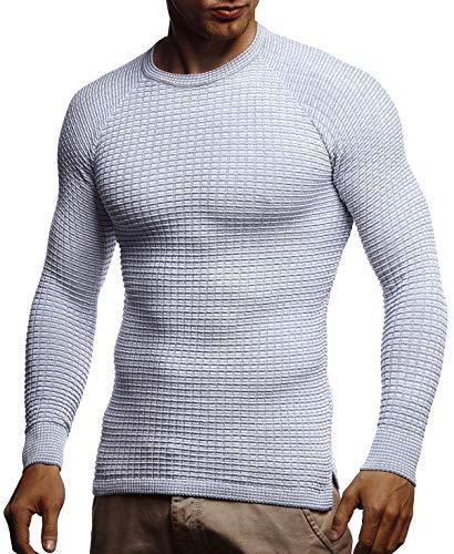 LEIF NELSON Herren Pullover Slim Fit Rundhals | Strick-Pullover Rundkragen | Moderner Longsleeve LN20746; M; Grau-Ecru