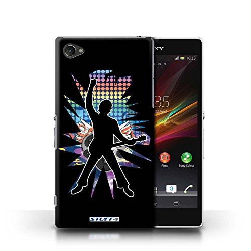 Kobalt® Imprimé Etui / Coque pour Sony Xperia Z1 Compact / Solo Blanc conception / Série Rock Star Pose Windmill Noir