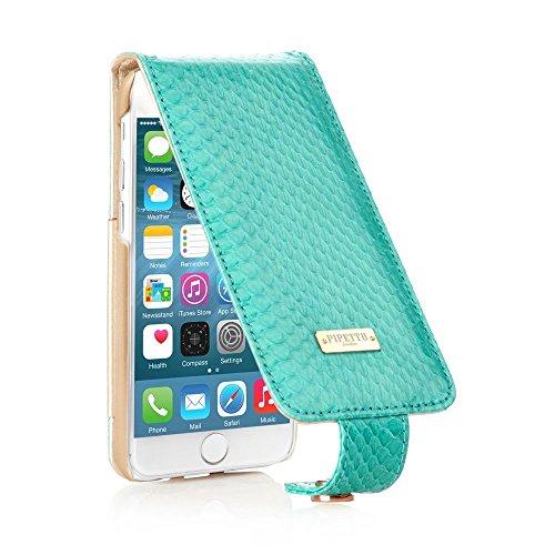 PIPETTO Luxury - Custodia a Libro per iPhone 6, in Pelle, Apertura Verticale, Effetto Pelle di Serpente, Blu, iPhone 6