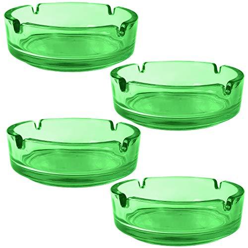 4 Stück Aschenbecher aus Glas großer XL Ascher aus 10 mm dickem, bunt transparentem Glas Glasaschenbecher stapelbar mit 4 Kerben zum ablegen (Grün) (Farbige Zigaretten-packungen)