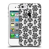 Head Case Designs Offizielle Anis Illustration Schwarz 2 Blumige Muster 2 Soft Gel Hülle für iPhone 4 / iPhone 4S