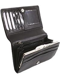 Porte-monnaie à bouton-pression pour femme OTARIO, cuir véritable, 12,5x10,5cm