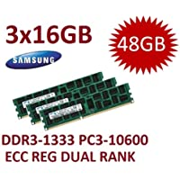 48 GB Triple Channel Kit Samsung (Mihatsch & Diewald) 3 x 16 GB DDR3 1333 mhz PC3-10600R 240 pin, ECC, Dual Rank, 1,5 V, CL9 con sensore termico per MacPro 4,1 5,1 e Xeon Server sistemi