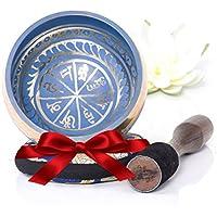 Tibetische Klangschale - Blaue Farbgestaltung - enthält Himalaya Kissen und Klöppel - Ein perfektes Geschenk - In Nepal hergestellt.