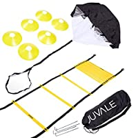 Juvale Speed and Agility Training Set - Includes Agility Ladder, 6 Disc Cones, Resistance Parachute, 4 Steel Stakes with Carrying Bag - Black, Yellow