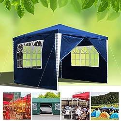 huigou 3x3m Carpas Pabellón Estable Carpa para Fiesta toldo Gazebo con 3 Ventanas y 1 Puerta con Cremallera terraza