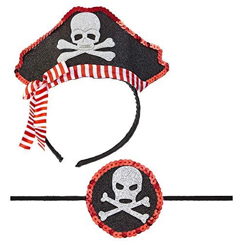 WIDMANN WDM04163 - Mini Cappello da Pirata & Benda per Occhio, Multicolore, Taglia Unica