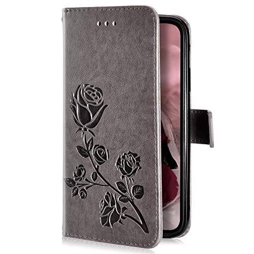 Uposao Kompatibel mit Samsung Galaxy Grand Prime Handyhülle Handytasche Rose Blumen Muster Leder Wallet Schutzhülle Brieftasche Hülle Klapphülle Brieftasche Tasche Flip Case Kartenfächer,Grau -