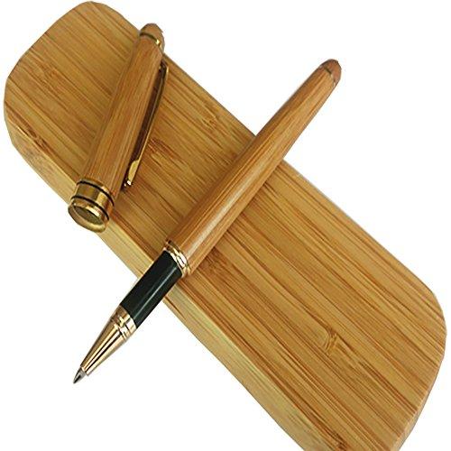 Rey Vintage firma pluma natural hecho a mano caja con a juego de bambú, bambú
