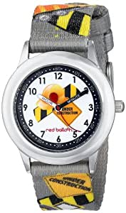 Red Balloon Red Balloon Construction Site Kid's Stainless Steel Time Teacher children's quartz Watch with white Dial analogue Display and grey fabric Strap W000329