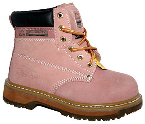 Damen Obermaterial aus Leder Smart/Casual Lace up SK21. Stahlkappe Sicherheit Stiefel, Pink - rose - Größe: 40 EU (6 (Up Stiefel Lace Pink)