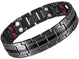 Drkao Magnetisches Herren-Armband Magnetarmband für Männer mit Geschenkbox Schmerzlinderung für Arthritis Karpaltunnel Magnetfeldtherapie Herren Damen Armband Edelstahl in Schwarz Farbe