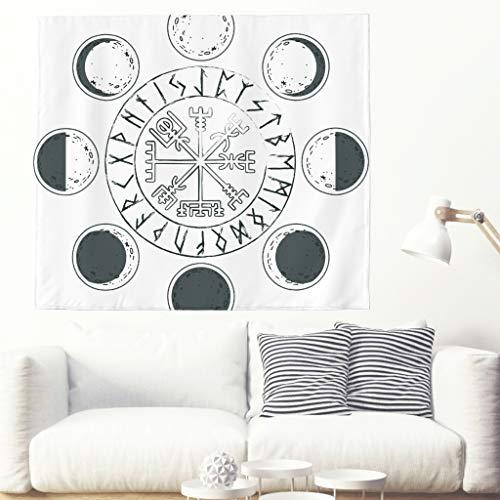 Tapiz de pared monocromático con diseño de luna, vikingo y luna, con símbolo de ciclo de luna y dinosaurio, para colgar en la pared, diseño celta 150 x 130 cm blanco
