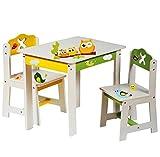 3 tlg. Set: Sitzgruppe für Kinder - aus sehr stabilen Holz - weiß -  lustige Eulen auf dem Ast  - Tisch + 2 Stühle / Kindermöbel für Jungen & Mädchen - Kindertisch - Kinderstuhl - Kinderzimmer für circa 1 - 3 Jahre - Kindersitzgruppe - Tischgruppe / Stühlen
