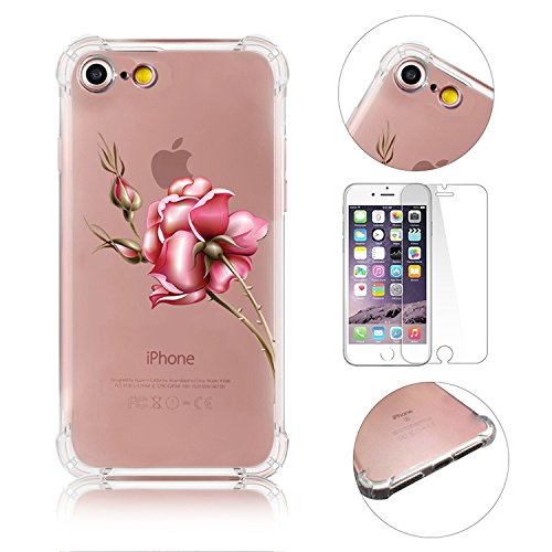 iPhone 7 Coque iPhone 7 Etui iPhone 7 Housse Case Cover,MingKun Ultra-Thin Crystal Clear TPU Silicone Clair Transparente Coque pour iPhone 7 Ultra Mince Premium Transparent Etui pour iPhone 7 Exact Fi Série fleurs-13