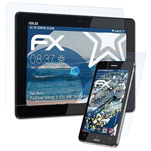 atFolix Schutzfolie kompatibel mit Asus PadFone Infinity 2 (EU) A86 Tablet&Smartphone Panzerfolie, ultraklare und stoßdämpfende FX Folie (3er Set) (Asus Infinity Padfone)