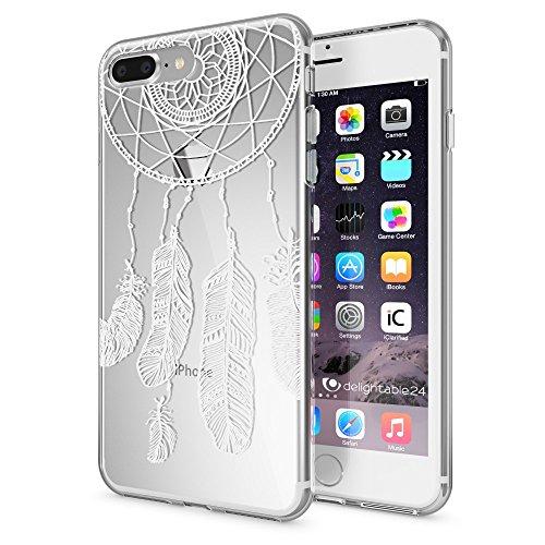 iPhone 8 Plus / 7 Plus Hülle Handyhülle von NICA, Slim Silikon Motiv Case Crystal Schutz Dünn Durchsichtig, Etui Back-Cover Transparent Bumper für Apple iPhone 7+ / 8+ - Transparent Feathers