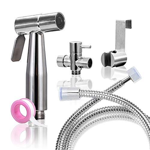 Körperpflege Handbidet Set-Premium Water Sprayer-Tuch-Windel-Baby-Duschen-Spray AttachmentHose-Hochdruck/Keine Leaks-Edelstahl gebürstet WC-Reiniger
