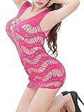 FasiCat Frauen Reizwäsche Sexy Dessous Korsett Lingerie Set Minikleid Erotik Fischnetz