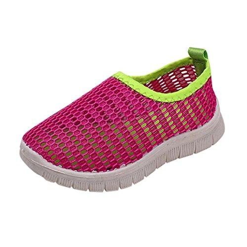 FNKDOR Jungen Mädchen Mesh Schuhe Geschlossene Wasserfest Sandalen Atmungsaktiv Wasserschuhe Badeschuhe (34, Rosa)