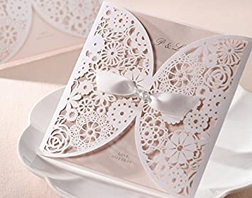 Diy laser cut vintage lace flower wedding invitation template diy laser cut vintage lace flower wedding invitation template invite card cover with white bows 50pcs amazon kitchen home junglespirit Images