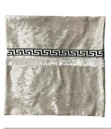 Deko-König Medusa Kissen Samt Kissenbezug mit Mäander Blumen Muster Verzierung Kissenbezüge Kissen Bezüge (45x45 cm) Silber-Silber