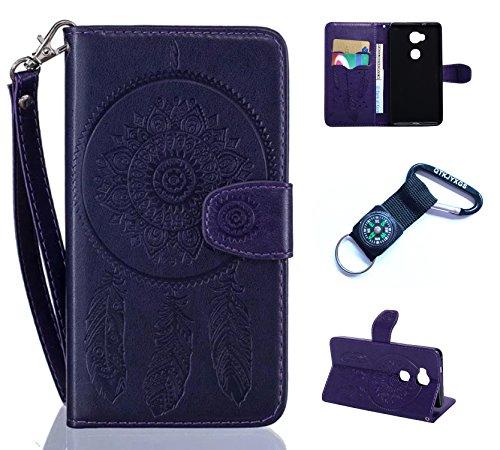 für Huawei Honor 5X Hülle Blume Premium PU Leder Schutzhülle für Huawei Honor 5X (5,5 Zoll) Bookstyle Tasche Schale PU Case mit Standfunktion(+Outdoor Kompass Schlüsselanhänge) #N (5)