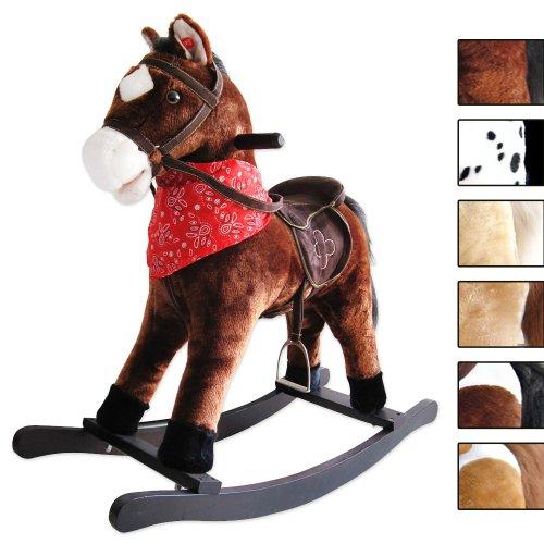 Jago Cavallo cavallino a dondolo per bambini con effetti sonori in peluche ca. 74/30/64 cm colore marrone scuro