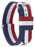 MOMENTO Damen Herren NATO Nylon Uhren-Armband Ersatz-Armband Uhren-Band mit Edelstahl-Schliesse in Silber und Blau Weiss Rot Gestreift 18mm