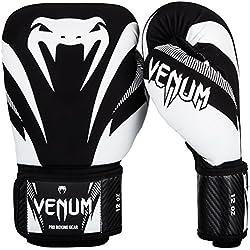 Venum Impact Guantes de Boxeo, Muay thaï, Kick boxing, Negro / Blanco, 14 Oz