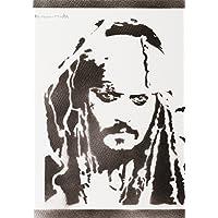 Jack Sparrow Pirates Of The Caribbean Poster Handmade Graffiti Street Art - Artwork