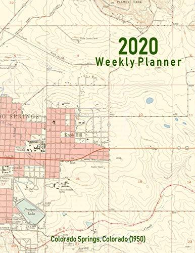 2020 Weekly Planner: Colorado Springs, Colorado (1950): Vintage Topo Map Cover -