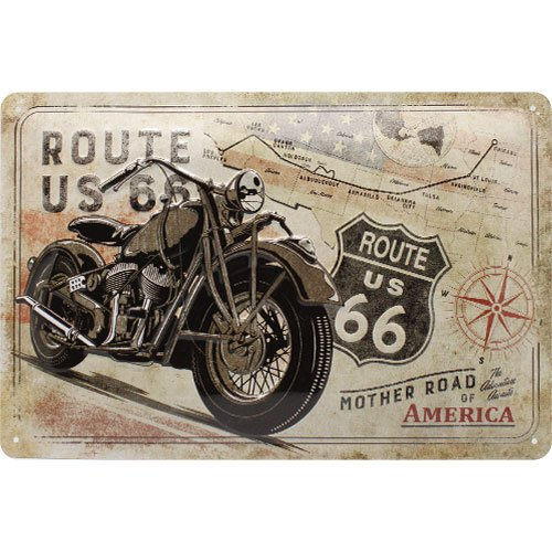 Nostalgic-Art 22279 Route 66 Bike Map  | Retro Blechschild | Vintage-Schild | Wand-Dekoration | Metall | 20x30 cm (Metall-schilder Der Route 66)