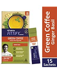 Saffola FITTIFY Gourmet Green Coffee Instant Beverage Mix, Ginger Basil, 15 Sachets, 30g