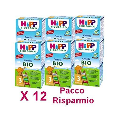 HiPP - latte Hipp 3 da 500 grammi X 12 Confezioni - Pacco Convenienza