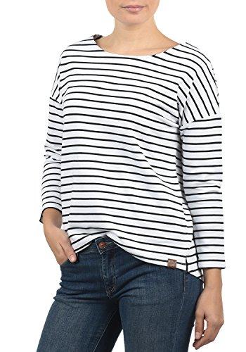 DESIRES Leni Damen Sweatshirt Pullover Sweater Mit U-Boot-Ausschnitt Und 3/4 Arm, Größe:L, Farbe:White/Bla (0001B)