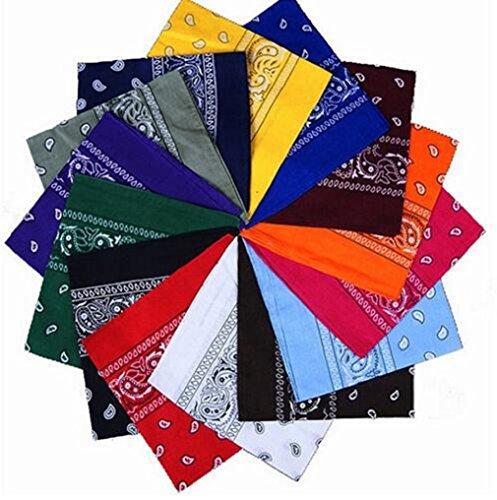(samidy 6-teiliges Haarband Paisley Western Style, Baumwolle Tuch Schal Set für Frauen, Männer und Kinder Bandannas für Halstuch, Taschen, Hunde und Fashion Zubehör (zufällige))