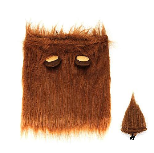 Wokee Löwenmähne + Tail Set, Hut Katze Hund Kleid Gefälschte Hundekostüm Löwenmähne für Hunde mit Geschenk (Brown, M,lang,14.5Zoll)