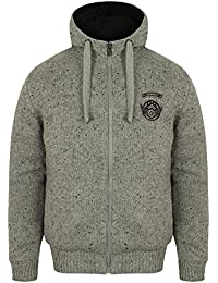 3ab5ef21 Dissident Mens Borg Lined Knitted Hooded Jacket Quilted Winter Hoodie  1K9673.