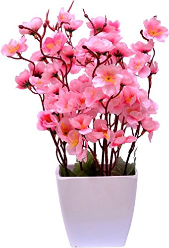 Blue Bird Pink Orchids Artificial Plant with Pot (30 cm, White)