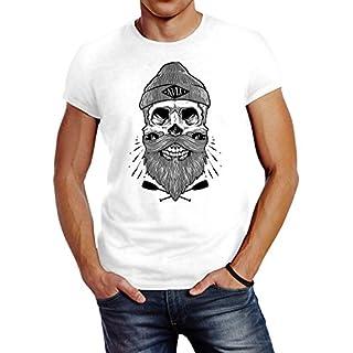 10407079eae73d Neverless Herren T-Shirt Captain Skull Beard Totenkopf Bart Kapitän Slim Fit  weiß L