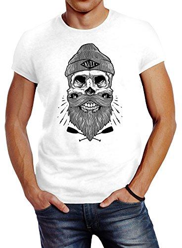 Neverless Herren T-Shirt Captain Skull Beard Totenkopf Bart Kapitän Slim Fit Weiß