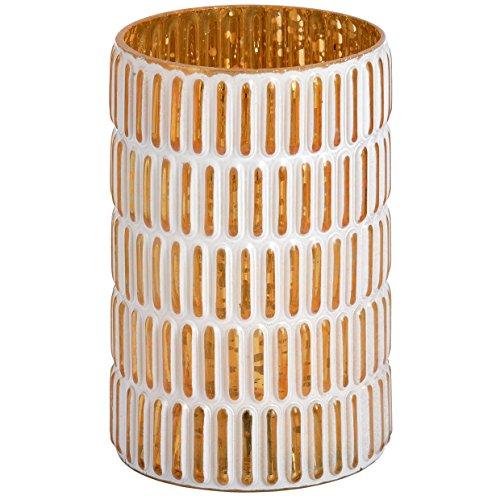 Medium gold und weiß gemustert Teelichthalter