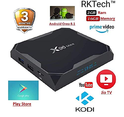 RKTech™ X96 MAX Android 8.1, 2GB 16GB Android TV Box Supports Prime Video,JIO TV & HotStar Apps, Amlogic S905X2 UHD 4K 1080P USB 3.0 Smart TV Box Set Top Box