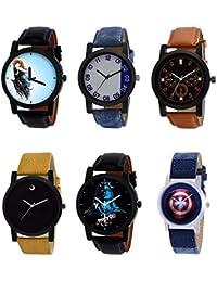 NIKOLA New 3D Design Mahadev Captain America Black Blue And Brown Color 6 Watch Combo (B22-B40-B31-B59-B23-B43...