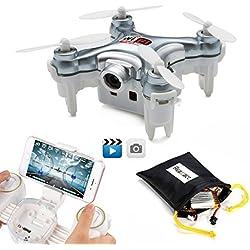 REALACC Cheerson CX-10WD-TX Mini Wifi FPV Cuadricóptero Con Cámara High Hold Mode 2.4G 6-axis RC Nano Teledirigido Quadcopter RTF Modo 2 (Gris)