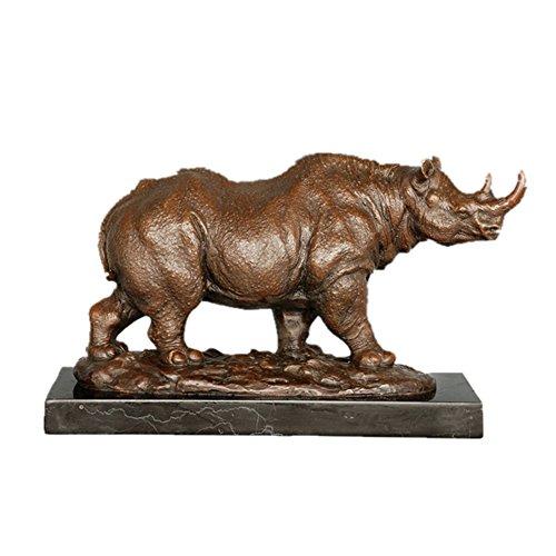 Toperkin Bronze Statuen Tier Skulpturen Rhinoceros Marble Base Garten Statue TPAL-332