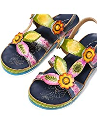 low priced 74f80 c9a4c Gracosy Sandales Cuir Femmes, Chaussures de Ville Été Sandales Plates  Semelle Confortable à Talons Plats