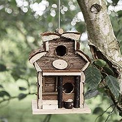 garden mile® Nichoir à Oiseaux en Bois à Suspendre dans Un hôtel en Bois Naturel Nichoir pour Le Jardin en Forme de bûches cabane pour Oiseaux décorations de Jardin Wooden Bird Hotel